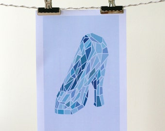 Glass Slipper Print - A4 - Polygon, Cinderella, Shoe - The Inked Brush