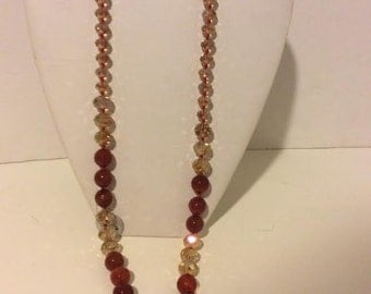 Cognac and champagne sparkle long beaded agate necklace