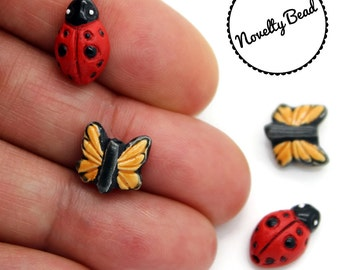 4 - Small - Butterfly & Lady Bug - Beads  - Novelty - Ceramic