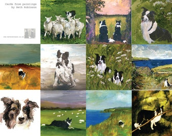 ten assorted border collie cards - all from paintings by Beth Robinson