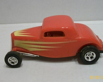 Vintage Build Red Hot Rod  Coupe Plastic Model Car With Flames Mag Chrome Wheels 1/25? Scale