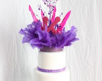 Hot Pink and Purple cake topper