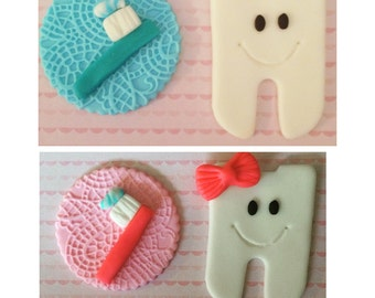 12 pieces tooth fondant cupcake toppers