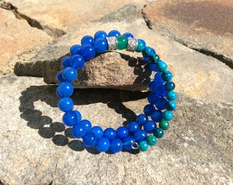 Blue quartz and Australian Jasper bracelet