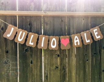 Custom Handmade I love You Couple Personalized Name Banner, Two Names with Heart, Dual Layer