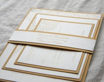 Champagne and Gold Fancy Wedding Invitation SAMPLE SET