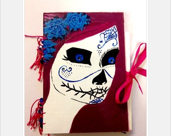 Art Journal, smash book hand painted, day of the dead themed.