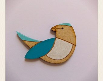 Blue Wing Parrot Brooch