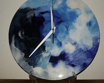 Blue Textured Clock
