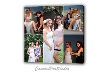 Canvas Photo Collage Gift / Bridesmaids Wedding Pictures / Photo Collage Canvas Family Photo Collage/ Personalized Collage Art