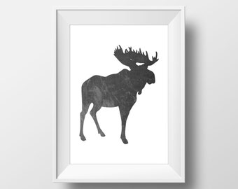 Black Watercolor Moose Print, Moose Print, Moose Wall Art, Watercolor Moose, Printable Moose Art, Moose Decor, Animal Nursery Decor