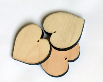 5Pcs 63mm wooden hearts - hole in the center, wood for decoration, wooden Pendant, Handmade, Natural Wood Pendant, Jewelry, eco frendly