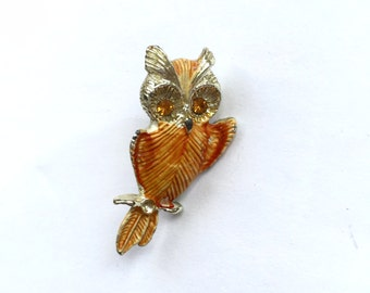 Vintage Orange Owl Brooch