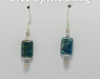 Jaded Square Earrings