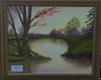 Original Oil Painting Sunset Pond 18x24