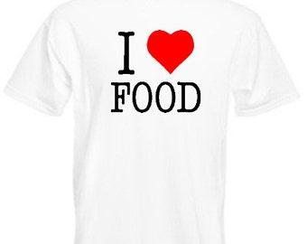 I Love Food - Mens/Adults Tshirt - Novelty/Funny/Gift/Present/Party/Secret Santa/Fancy Dress