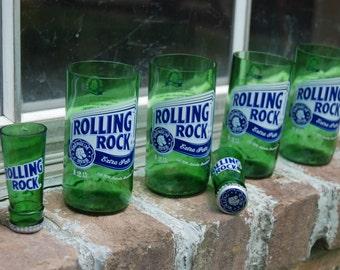 Set of 4 Rolling Rock glasses and 2 shot glasses