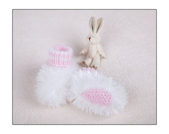 Pdf Knitting Pattern for fluffy booties by Angela Turner