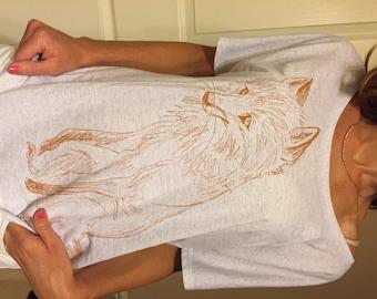 FOX T-shirt - Women's Animal Illustration Tee - Wide Neck Loose Fit T-shirt - David Colman Original Illustration