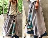 Nepalese sari cotton chiffon maxi skirt/ boho skirt/ long skirt/ asymmetrical/ strapless dress/ idea2lifestyle (Q1106)