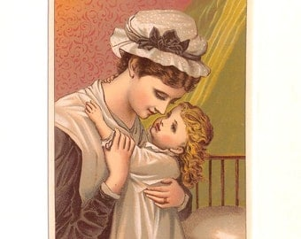 Mother and Child, Good Night, Victorian, 1885