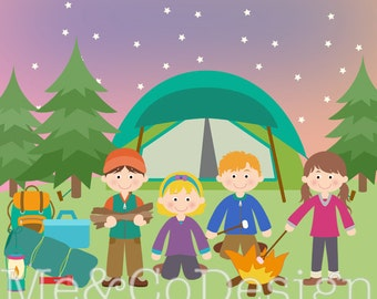 Camping Clipart, Fun Cute Clipart, Camping Kids Boy and Girl Instant Download, Personal and Commercial Use Clipart, Digital Clip Art