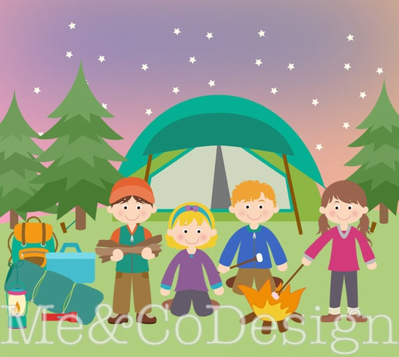 Camping Clipart Fun Cute Kids Boy And Girl Instant Download Personal Commercial Use Digital Clip Art