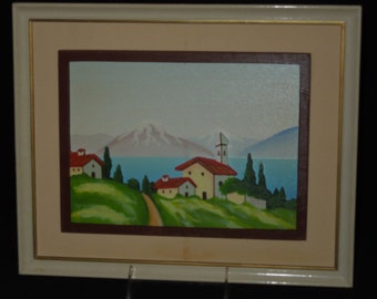 Antique Handcarved 3D Wood Picture/Wall Hanging Summer Village Made in Italy