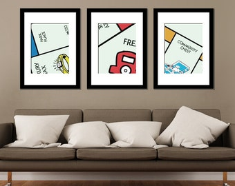 Monopoly Minimalist Prints - Set of 3