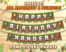 Minecraft Birthday Banner Party Printable Personalized Customizable Includes all Letters Printables Decoration Instant Digital Download