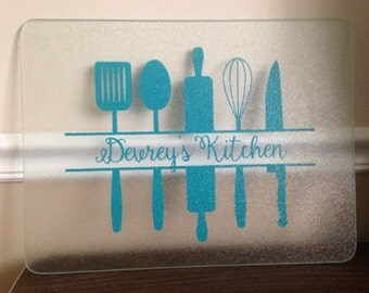 Kitchen Cutting Board Vinyl Decal; Optional Cutting Board Included
