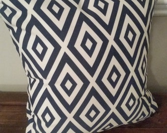 Navy and White Diamond Decorative Pillow Cover - Indoor / Outdoor