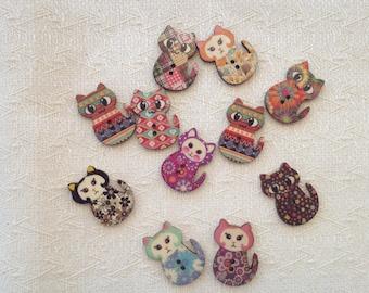 Set di 10 bottoni di legno con gatti colori assortiti