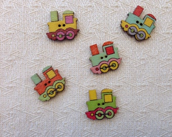 Set of 10 wooden buttons with trains assorted