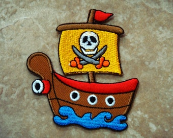 Pirate Ship Embroidered Applique Iron on Patch