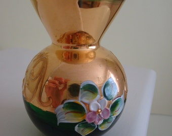 Green Glass Bud Vase With Gold and Floral Design