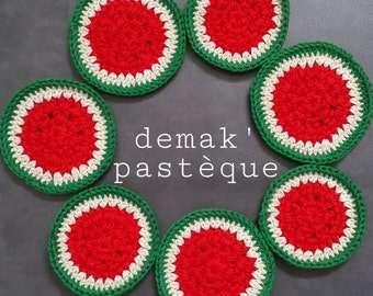 DEMAK' watermelon Semainier 7 discs removers watermelon crochet 100% cotton Vegan Ecofriendly ecological Watermelon Face Scrubies