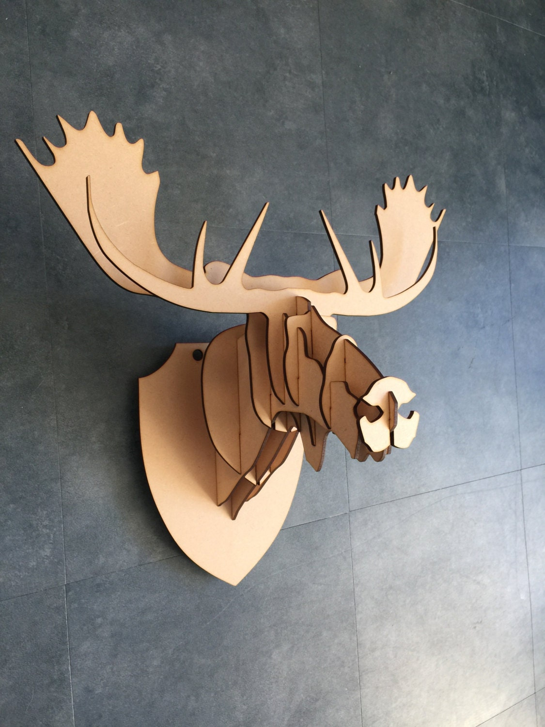 Large small wooden moose head 3d wall art home by for Art decoration pdf
