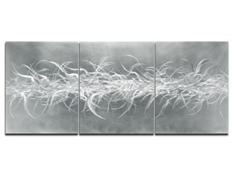 Modern Abstract Art Panels 'Electric Fields V2' - 62x24 in. - Contemporary Wall Decor - Large 3-Panel Metal Sculpture