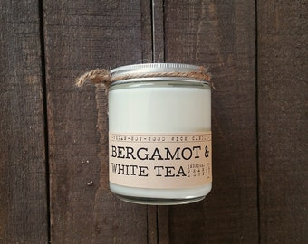 Bergamot & White Tea Wood Wick Candle - Soy Candle, Wood Wick Candle, Citrus Candle, Scented Candle, Bergamot Candle, Tea Candle