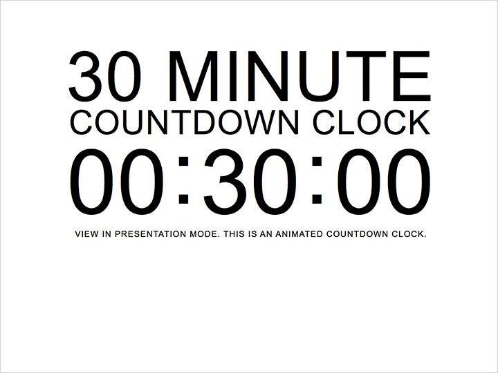 30 Minute White Countdown Clock Presentation PowerPoint Slide