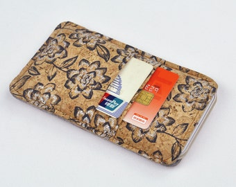 Cork felt iPhone 6 sleeve, cork iPhone 6 case with card slots, felt iPhone 6 cover,iPhone 6 sleeve, women iphone 6 wallet, Phone case, 1B1