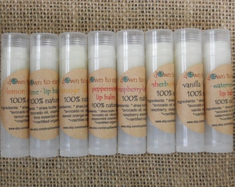 LIP BALM: organic - vegan - gluten free- all natural lip balm - in a convenient roll up tube - many fun flavors - SPF15