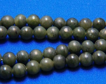 Vintage Nephrite Spinach Jade Bead Necklace w/ Gold Filled Clasp Opera Length