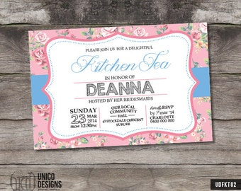 Floral Kitchen Tea Printable / Floral Bridal Shower Printable / Floral Printable Invitation