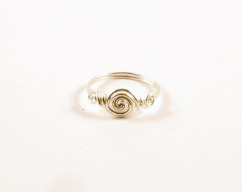Pure .999 Silver Wire Wrapped Spiral Ring Size 6 Silver Wire Wrap Ring