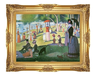 Sunday Afternoon on the Island of La Grande Jatte Georges Seurat Framed Canvas Wall Art Print - Sizes Small to Large - M00217