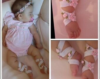 Baby headband and barefoot sandals, shabby chic baby hairbow,newborn headband, baptism hairbow, christening, footless sandals, flower girl