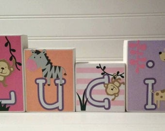 Personalized Name Blocks. Girl's Name Blocks