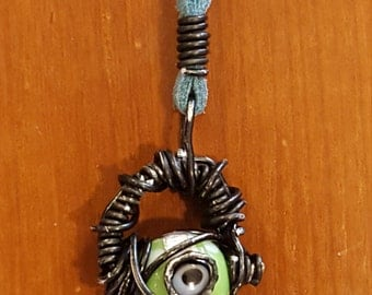 Wire Wrapped Evil Eye Bead Necklace